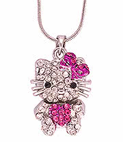 Blue Banana Cute Cat Necklace (Silver/Pink)