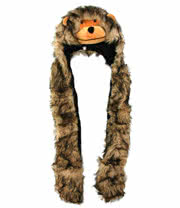 Blue Banana Fur Monkey Scarf Hat (Brown)