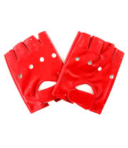 Blue Banana PU Leather Gloves (Red)
