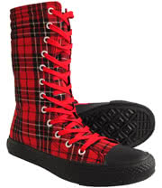Blue Banana Tartan Print Tall Boots (Red/Black)
