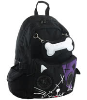 Banned Cat Bone Backpack With Speakers (Black/Purple)
