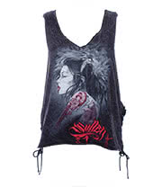 Sullen Angels Lady Luck Side Tie Skinny T Shirt (Black)