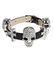 Blue Banana Crystal Skull Wristband (Black)
