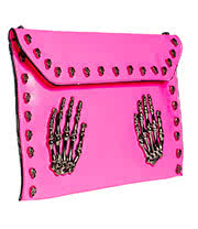 Blue Banana Skeleton Hands Studded Clutch Bag (Pink)