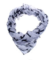 Blue Banana Black Cross Scarf (White)