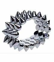 Blue Banana 3 Row Small Spike Bracelet (Silver)