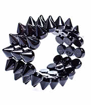 Blue Banana 3 Row Small Spike Bracelet (Black)