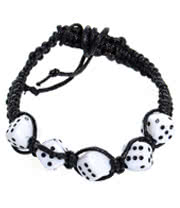 Blue Banana Small White Dice Bracelet (Black/White)