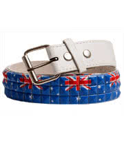Blue Banana Australian Flag Studded Belt (White)