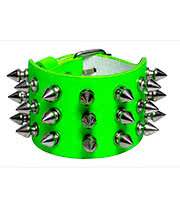 Blue Banana 3 Row Small Spikes Studded Wristband (Green)