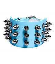 Blue Banana 3 Row Small Spikes Studded Wristband (Pale Blue)