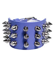 Blue Banana 3 Row Small Spikes Studded Wristband (Lilac)