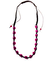 Blue Banana Skulls Necklace (Hot Pink)