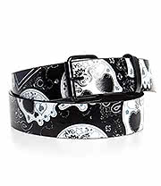 Blue Banana Sugar Skull Bandana Belt (Black/White)