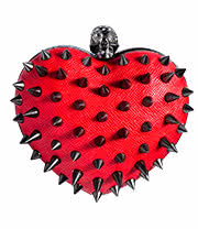 Cupcake Cult Anarchy Heart Studded Spike Bag (Red)