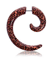 Blue Banana Spiral Fake Ear Stretcher (Leopard)