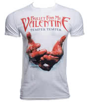 Bullet For My Valentine Temper Temper Blood Hands T Shirt (White)