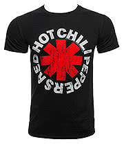 Red Hot Chili Peppers Distressed Asterisks T Shirt (Black)