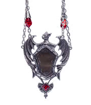Alchemy Drakul Mirror Pendant (Silver/Red)
