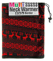 Blue Banana Nordic Pattern Reversible Snood (Black/Red)