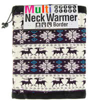 Blue Banana Nordic Pattern Reversible Snood (Black/White)