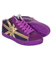 Bleeding Heart Union Jack Studded Hi Top (Purple)