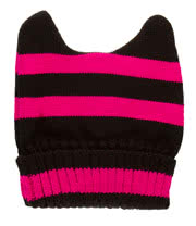 Blue Banana Stripe Beanie (Black/Hot Pink)