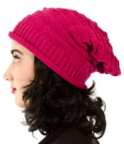 Blue Banana Slouch Beanie (Cerise Pink)