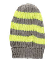 Blue Banana Stripe Beanie (Grey/Neon Yellow)