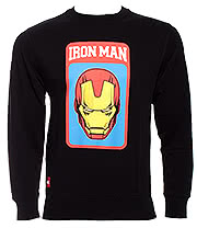 Marvel Comics Iron Man Mask Crew Sweater (Black)