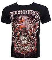 Young Guns Horses & Gun T Shirt (Black)