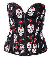 Bedroom Stories Rose Skull Corset (Black)