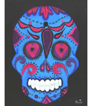 Arnie's Art Single Blue/Pink Skull Card (Black)