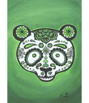 Arnie's Art Single Bear Skull Card (Green)