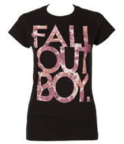 Fall Out Boy Floral Skinny T Shirt (Black)