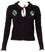 Banned Steampunk Cameo Cardigan (Black/Green)