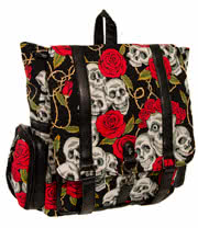 Banned Skull & Roses Backpack (Multi-Coloured)