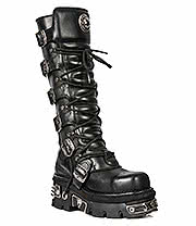 New Rock Boots Tall Buckle & Laces Steel Toe Boots M.272MT-S1 E14 (Black)
