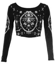 Jawbreaker Bugs & Skulls Crop Top (Black)