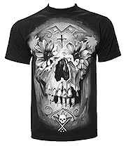 Sullen Flower Skull T Shirt (Black)