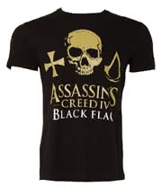 Assassins Creed lV Gold Skull Logo T Shirt (Black)