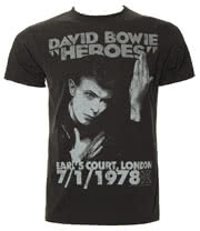 Amplified David Bowie Heroes T Shirt (Charcoal)