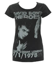 Amplified David Bowie Heroes Skinny T Shirt (Charcoal)