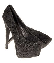 "Bleeding Heart Crystal 6"" Heel Shoes (Black)"
