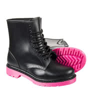 Blue Banana Lace Up Wellie Boots (Black/Pink)