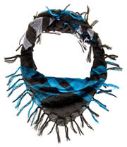 Blue Banana Plaid Scarf (Black/White/Blue)