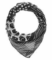 Blue Banana Small Skulls & Spots Scarf (Black/White)