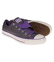 Converse All Star Ox Double Tongue Shoes (Grey/Purple)