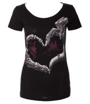 OG Abel Heart Hand Scoop Neck Top (Black)