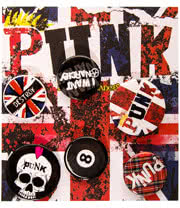 Blue Banana Union Jack Punk Badge Set